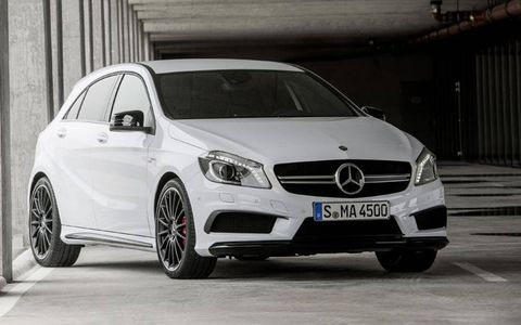 The Mercedes-Benz A45 AMG mates a turbocharged four-cylinder engine with all-wheel drive.
