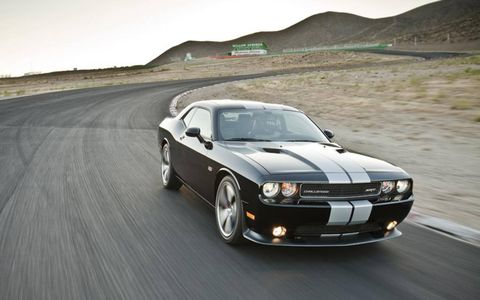 The 2013 Dodge Challenger SRT8 392 is ready for the track with steering wheel-mounted paddle shifters.