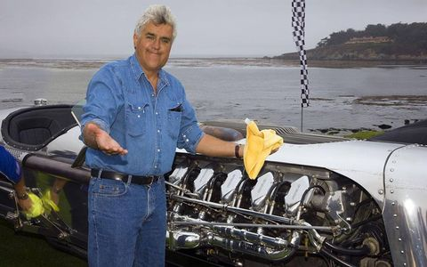 Jay Leno brought his Tank Car to the Pebble Beach Concours this year as part of a display of vehicles with engines that displaced more than 20 liters.