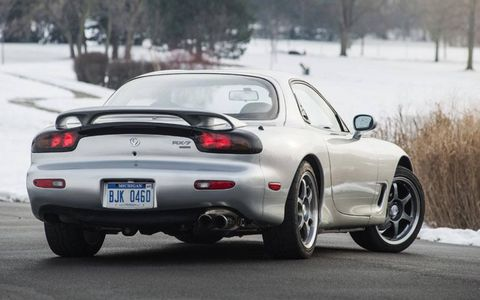 This RX-7 R2 is equipped with a Racing Beat dual-tip exhaust, and it rides on 17-inch SSR Competition wheels.