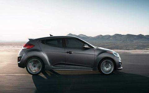 The 2013 Hyundai Veloster turbo is sitting on a set of Michelin pilot super-sport summer tires.