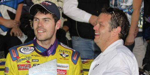 John Wes Townley, left, celebrates his win in victory lane at Daytona International Speedway on Saturday.