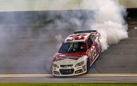 Kevin Harvick celebrates his win in the Sprint Unlimited at Daytona International Speeday.