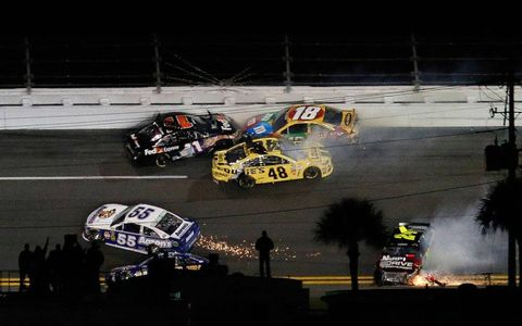 A big early crash wiped out much of the 19-car field. Just 12 cars finished the Sprint Unlimited at Daytona International Speedway on Saturday.