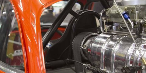 Drivers will want to keep long hair away from the supercharger pulley that sits directly behind their head in the Whatta Drag Isetta.
