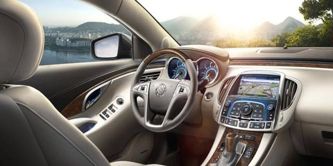 The interior of the 2013 Buick LaCrosse Touring feels out of tune for it to be a Buick.