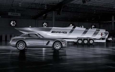 Two legendary performance brands – Mercedes AMG and Cigarette Racing – unveiled a custom Cigarette Racing boat and the SLS AMG, which inspired its design, at a special preview at the Miami International Boat Show on Thursday, February 11