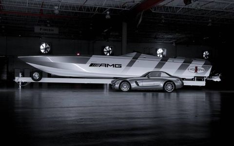 The new Cigarette 46' Rider features hand-applied AMG ALUBEAM silver paintwork also available on the SLS AMG