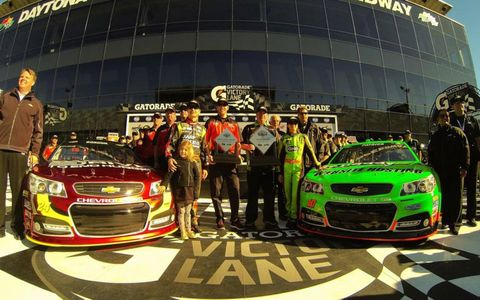 Chevrolet SS drivers Jeff Gordon, left, and Danica Patrick will start on the front row for the Daytona 500.