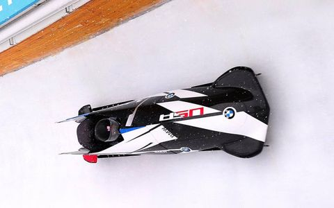 The BMW bobsled races at Utah Olympic Park in Park City, UT.