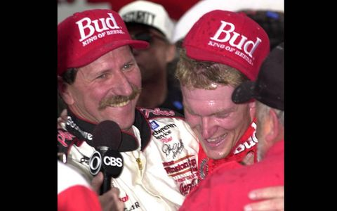 Father and son celebrate Junior's first win at Texas in 2000