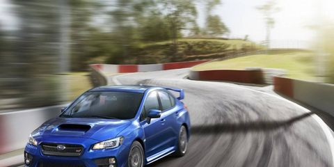 A look at the re-designed grille on the 2015 Subaru WRX STI.