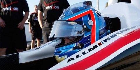 A.J. Allmendinger, who drove in NASCAR for team owner Roger Penske last season, was in a Team Penkse IndyCar ride on Tuesday.