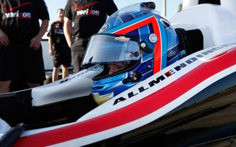 A.J. Allmendinger, who drove in NASCAR for team owner Roger Penske last season, was in a Team Penkse IndyCar ride on Tuesday.