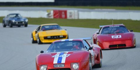 The sun began to set as the cars wound around the track at the 2013 Cavallino Classic.