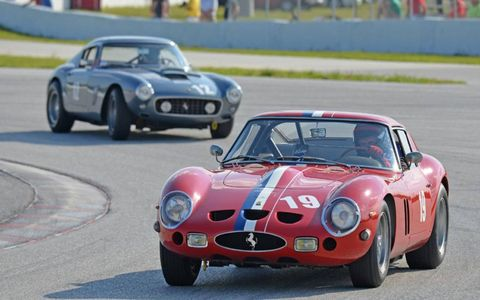 Dipping into the turn, the no. 19 Ferrai 250 GTO rounds a corner at the 2013 Cavallino Classic.