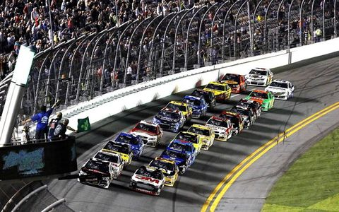 Austin Dillon leads the field at the start of the Duel 1 at Daytona on Thursday night.