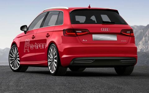 A rear view of the Audi A3 etron.