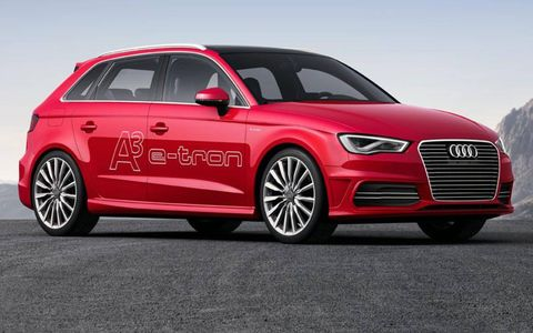 A side view of the Audi A3 etron.