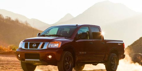 The 2014 Nissan Titan Pro-4X starts out at $40,685. Our Autoweek tester topped out at $45,555.