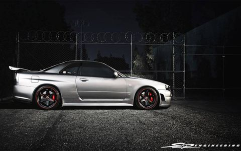 A much-sought-after car, the R34 GT-R was never sold in the United States, hence the right-hand-drive setup and the kilometers-per-hour gauges.