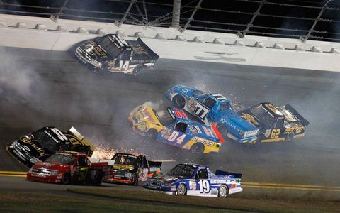 There was no shortage of action at the Camping World Truck Series race on Friday night in Daytona Beach, Fla.