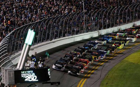 The start of the NASCAR Camping World Truck Series season-opening race at Daytona.