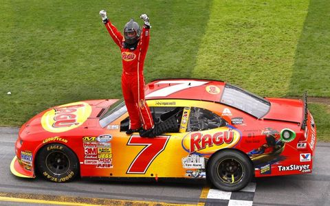 Regan Smith celebrates after his win.