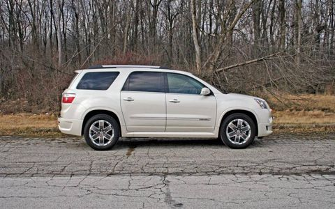 """Still, the 2012 GMC Acadia Denali is big, strong and I think rather cool-looking, especially in this polar bear shade of white."" - News Editor Greg Migliore"