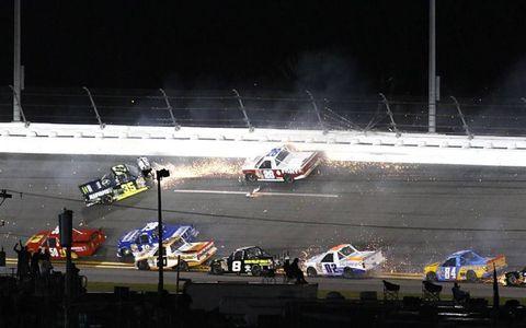 A big crash during the Daytona trucks race.