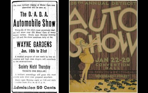 1910 Ad (left) and 1927 Auto Show Poster (right)