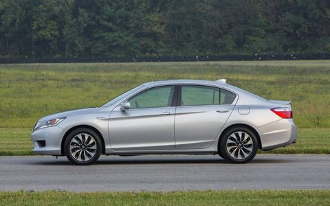 The 2014 Honda Accord Hybrid Touring  receives an epa-estimated 47 mpg combined fuel economy.
