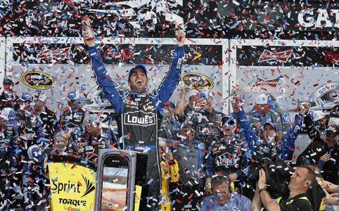 Jimmie Johnson celebrates after his victory.