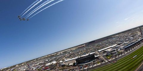 THE ROAR BEFORE THE ROAR: Jets from the U.S. Air Force Thunderbirds fly over the Daytona International Speedway to punctuate the national anthem before the start of the 2011 Daytona 500. What was louder? That, or cheers for 20-year-old rookie Trevor Bayne, who won the race.