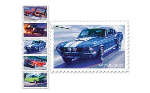The USPS has released a set of five postage stamps featuring American muscle cars. The stamps feature art by Tom Fritz.