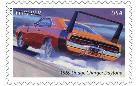 The 1969 Dodge Charger Daytona forever stamp.