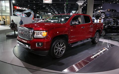 The 2017 GMC Canyon Denali is offered in two- and four-wheel drive, with either a diesel or gasoline engine.