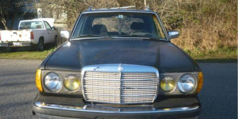 Nothing to see here: From the front, this looks like a worn but stock 1981 Mercedes-Benz W123 300TD estate wagon.