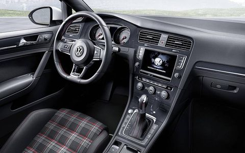 An interior view of VW's hot hatch is shown.