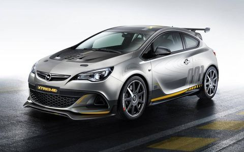 The Opel Astra OPC Extreme gets Recaro seats and six-point harnesses.