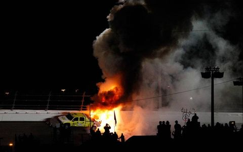 Juan Pablo Montoya caused the biggest stir of the night when his car slid into a jet dryer truck, causing a huge fire.