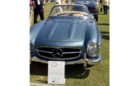 Not many cars can pull off baby blue as well as this 1963 Mercedes-Benz 300SL Roadster.