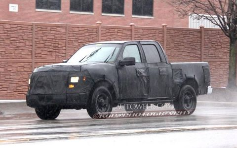 The front of this possible F-series crew cab prototype resembles the grill of the 2013 Ford F-150.
