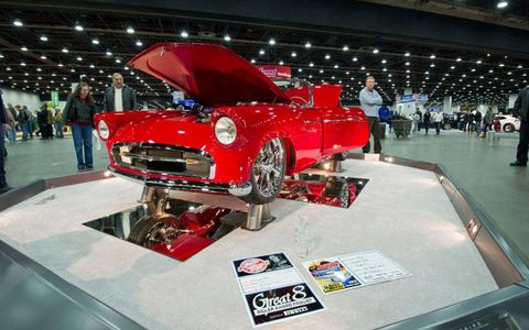 The 1955 Ford Thunderbird of Dwayne Peace of Tyler, Texas, which won the top award at the 2012 Detroit Autorama.