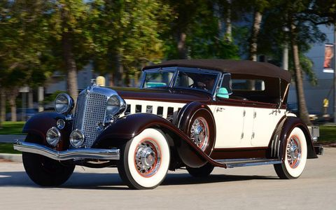 A cowl-less hood that stretched nearly six feet long is the main design attraction on this 1933 Chrysler Imperial CL Phaeton, which is cited by some as the car that placed Chrysler alongside many of the other luxury marques of the era.