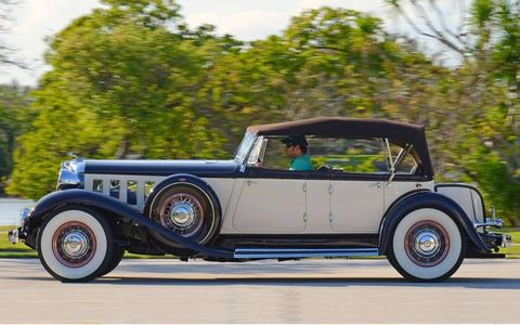 This 1933 Chrysler Imperial CL Phaeton featured about as much chrome as was considered tasteful at the time. It crosses the block at the Auctions America Fort Lauderdale sale on March 17.