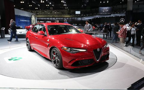 The 2.9-liter V6 makes over 500 horsepower thanks to the two turbochargers forcing in air, but to stave off weight Alfa decided to cast the block and heads out of aluminum.