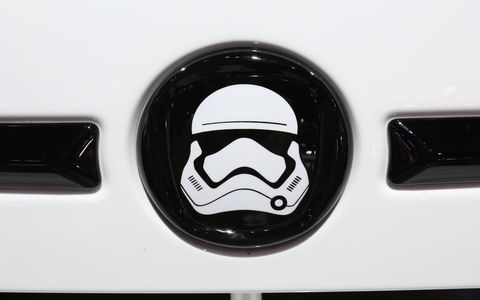 The 500e features a wrap designed to resemble a First Order Stormtrooper helmet, but it could work as the official vehicle of a ska band as well.