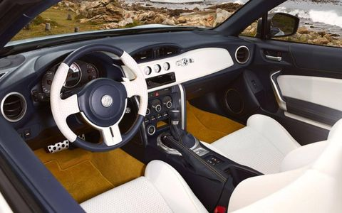 The instrument panel of the Toyota FT-86 convertible.
