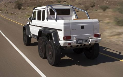 Mercedes-Benz G63 AMG 6x6 is suited for on-road duty as well as off-road duty.